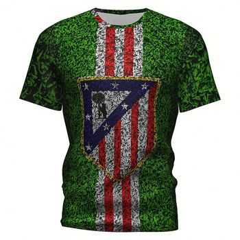 Custom Striped Athletic Soccer T-shirts 2019 Football 3D T-shirts Atletico Madrid Men's Sports T-shirts Cotton Tee Shirt