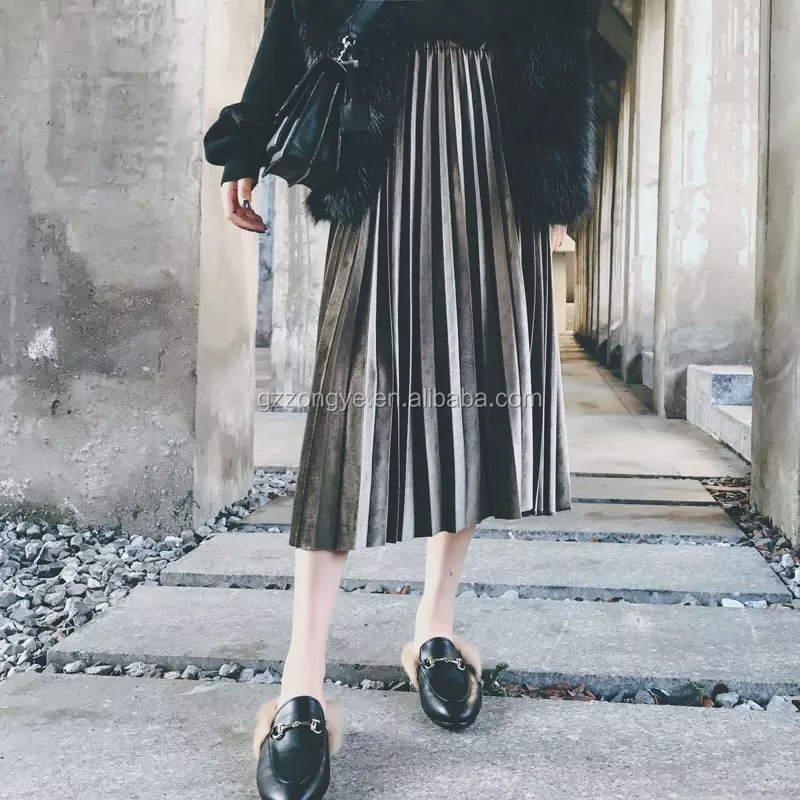 Fashion women velvet pleated skirt, gathers women winter skirts, European style