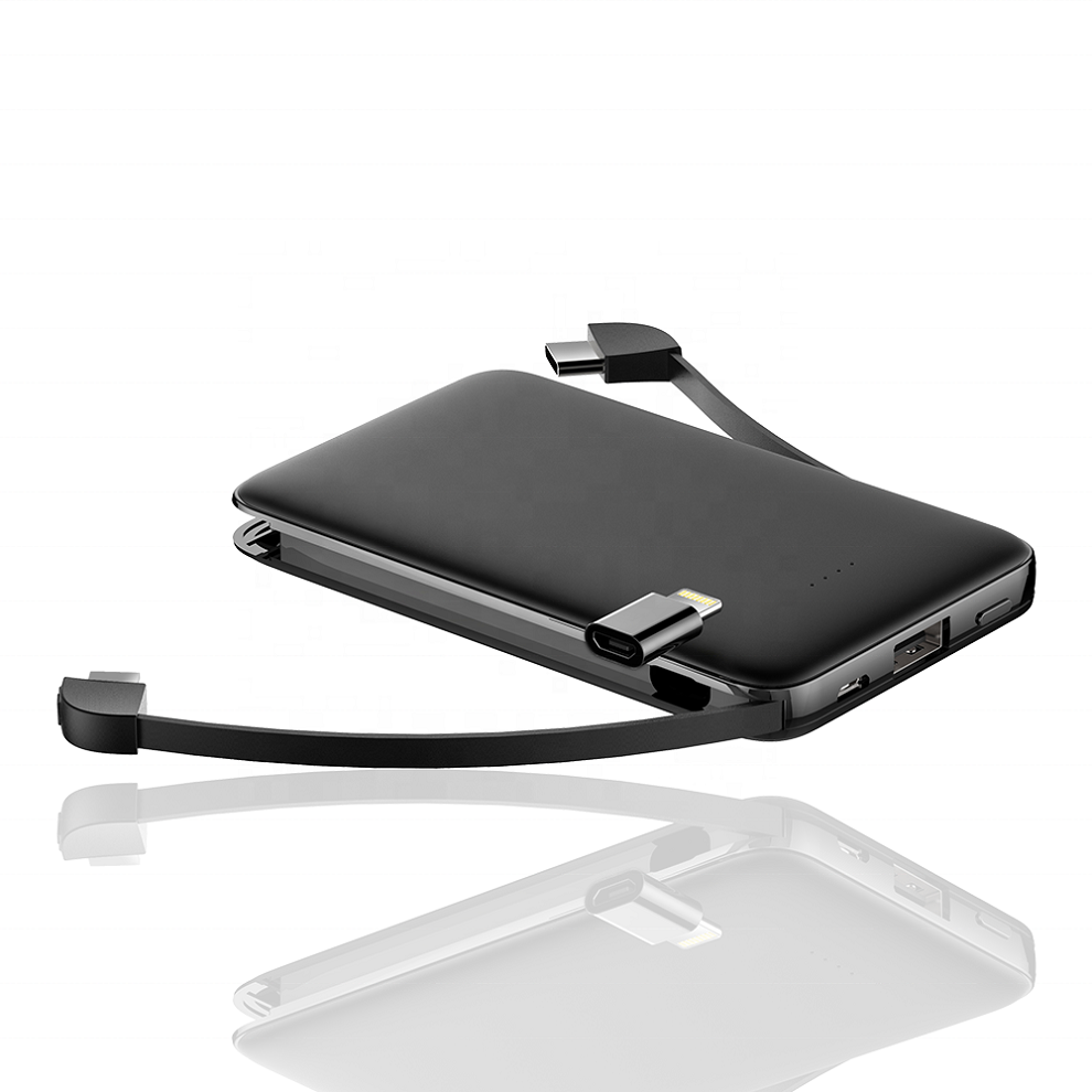 Custom Portable Mini <strong>Mobile</strong> Battery Charger 5000mAh External Power Bank High Capacity Built-in Micro USB Type <strong>C</strong> Cable for iPhone