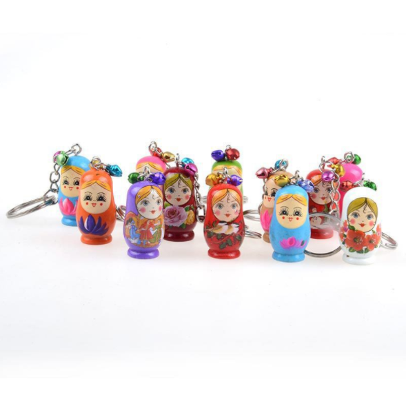 Wooden Decoration Craft Nesting Doll Keychain With Bell