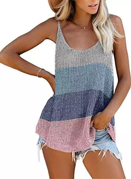 M95 tank Women's Heart Fashion Summer Knitted Sling Hit Color New Casual Round Neck From Solid Color Thin Straps