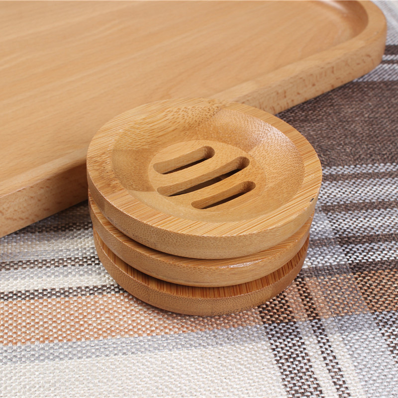 Bathroom Accessory Round Shape Natural Soap Bamboo Soap Dish Holder