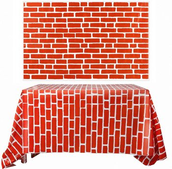 Red Brick Wall Backdrop Tablecloth Photo Brick Wallpaper Decal Background for Winter/Christmas Party Decoration