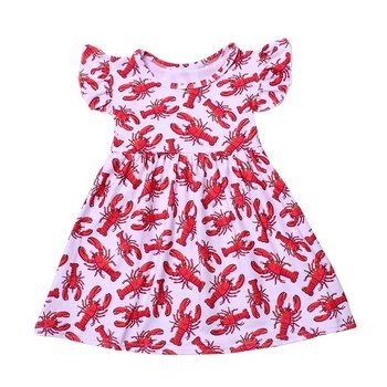 2020 boutique latest children dress design cheap dress for everyday 8 months baby girl dress with red lobster print new pattern