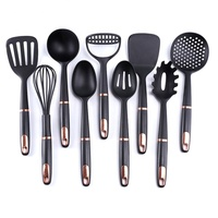 Amazon hot selling 9pcs black nylon kitchen cooking utensils for non stick cookware