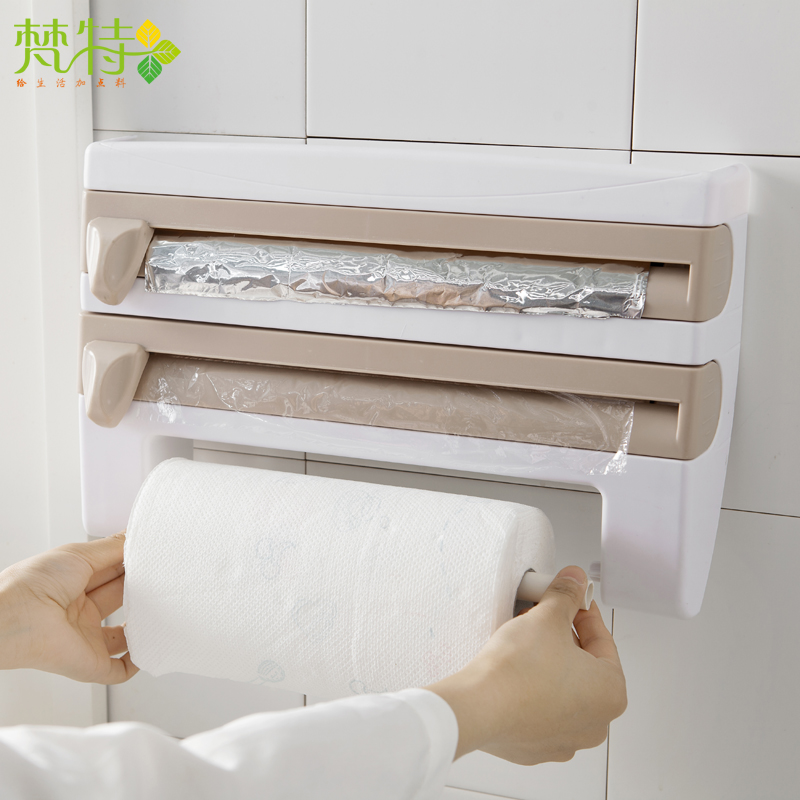 Preservative Film Cutter Kitchen Accessories Storage Rack Aluminum Foil Barbecue Paper Tissue Towel Holder Hanging Rack