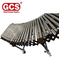Expandable gravity conveyor line flexible retractable roller conveyor