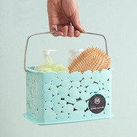 wholesale small rattan bathroom plastic storage basket with handle