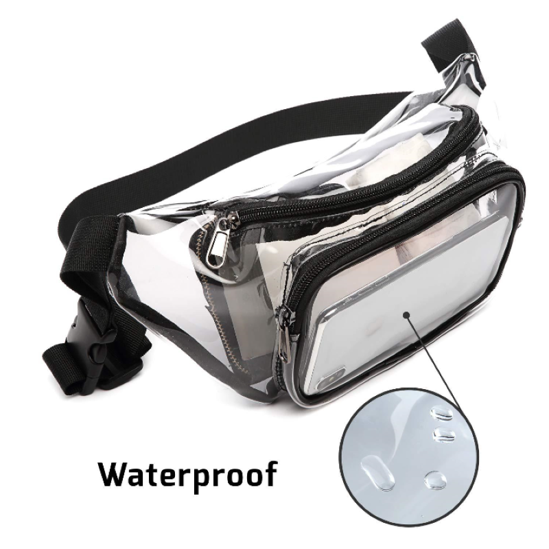 Fashion Fitness Transparent Waist Bag PVC Waterproof Material Outdoor Sports Bag