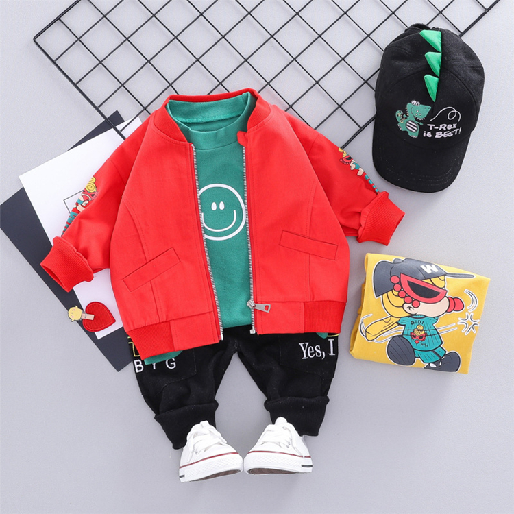 Hot sells casual suits boys sets cute printed wholesales kids clothes baby boy autumn clothing sets