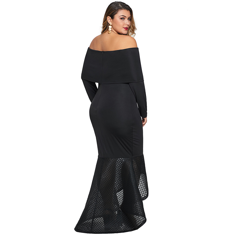 Ladies Off Shoulder Fishtail Plus Size Ankle Length Maxi Dress