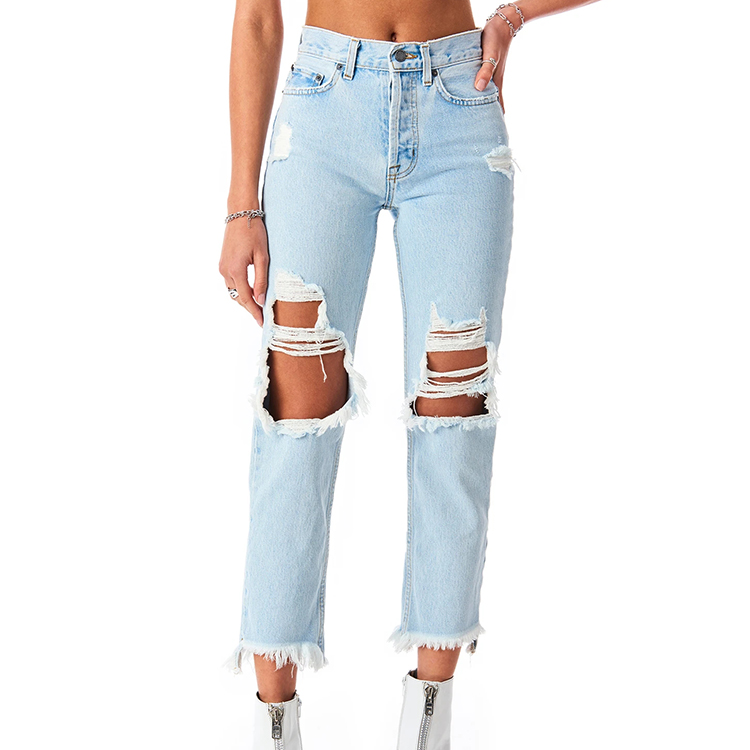 streetwear high waist distressed denim jean pant ripped ladies jeans pants for women