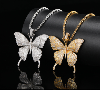 XuQian Hip Hop Jewelry Pendant New Design Zircon Large Butterfly Pendant For Necklace