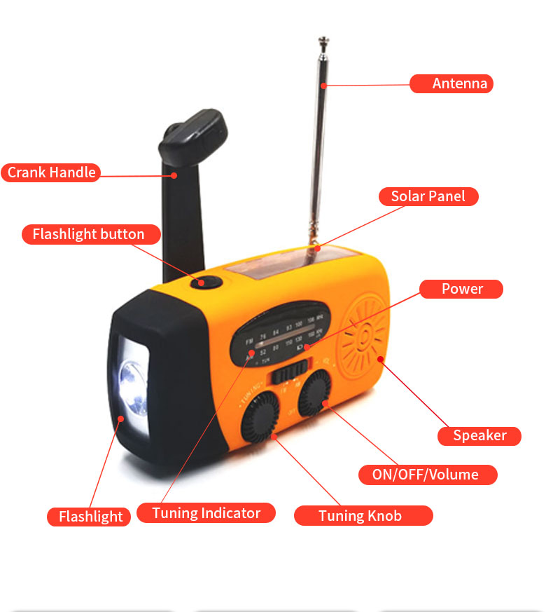 Portable Style Multifunctional Radio with Rechargeable Solar Hand Crank Dynamo and FM/AM 2 Band