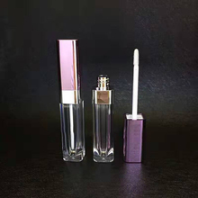 low moq luxury 5ml lip gloss tube packaging purple liquid lipstick container with wands