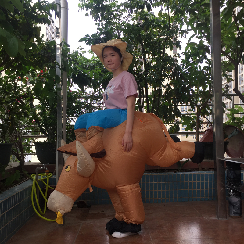 Purim cosplay inflatable bull rider costume fantasia animal halloween bull costume for adults men riding blow up bull costume