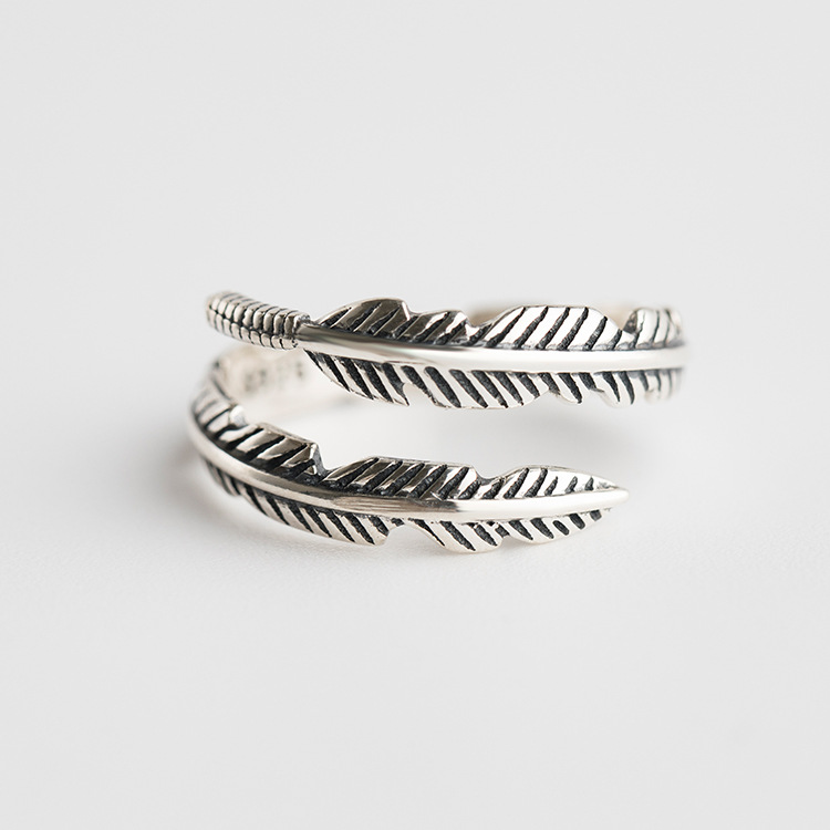 Japanese and Korean S925 Sterling Silver Retro Silver Finger Ring Leaf Shape <strong>Jewelry</strong> Wholesale
