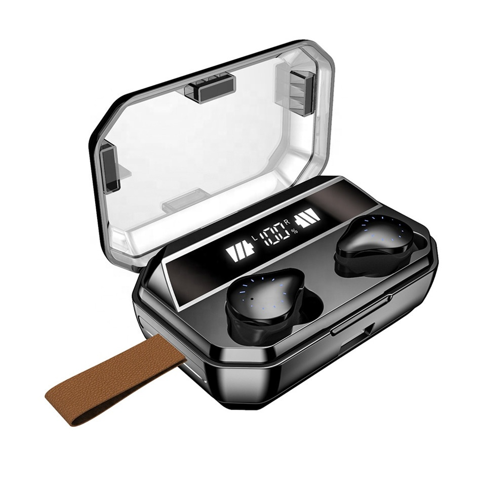 <strong>LCD</strong> screen display TWS wireless earbuds with 8000mah charging case