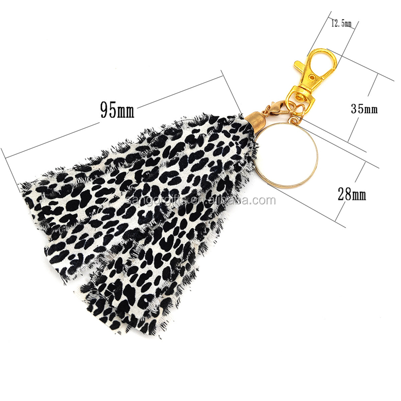 Personalized Monogram Leopard Tassel Keychains With Paint Accessories