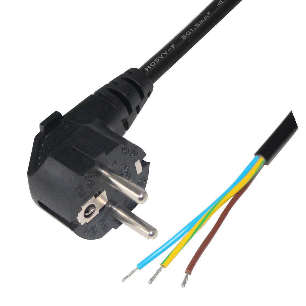 H05rr F <strong>H05vv</strong> 3g1.0mm2 Ac Pigtails Cords Extension Socket Plug 3-prong Eu Power Cord 3 Pin Blunt Cut