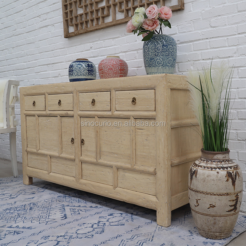 Asian Antique Style living room furniture rustic recycled wood natural cabinet