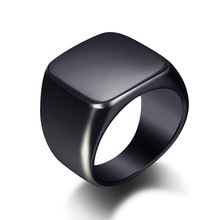 New Design Titanium Steel Accessories Punk Smooth Mens Black Jewelry Wide Finger <strong>Ring</strong> For Men Wedding