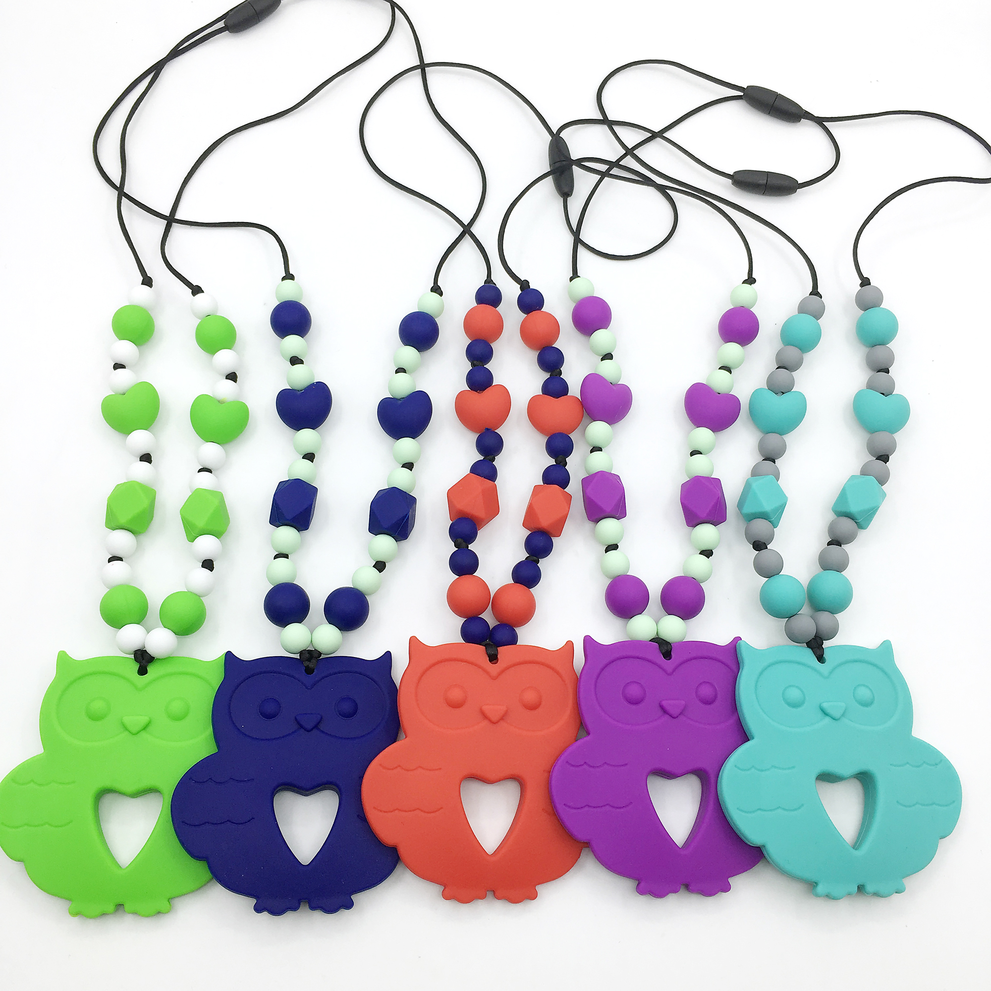 Hot <strong>Sale</strong> Baby Teething Silicone Beads Necklace Fashionable Owl cartoon Necklace