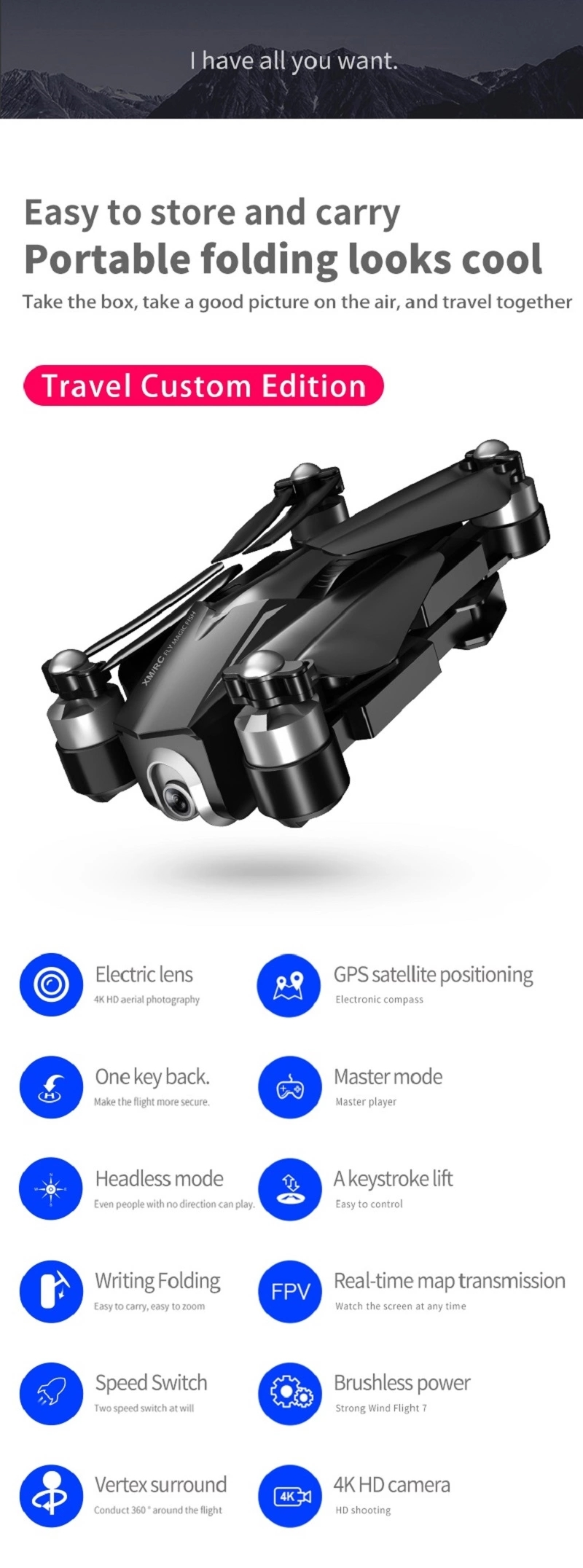 New 2019 SJY-M8 Brushless Drone Quadcopter GPS 4K Camera Flying Time 28 mins And Distance 850 Meters