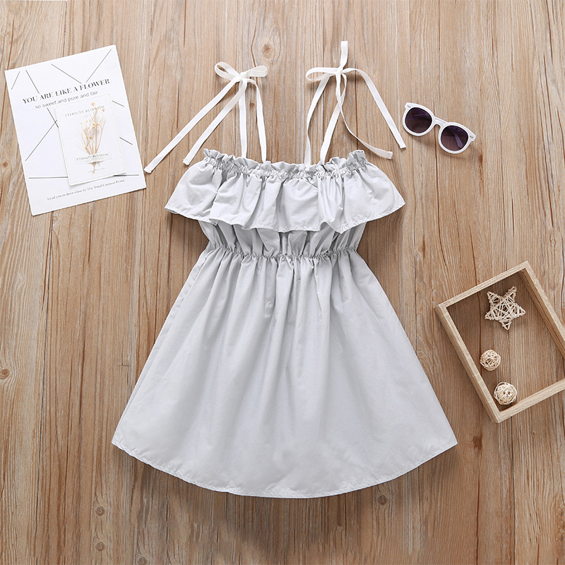 Summer hot sale fashion girls dress cute cotton dot bow design organic fabric baby dress