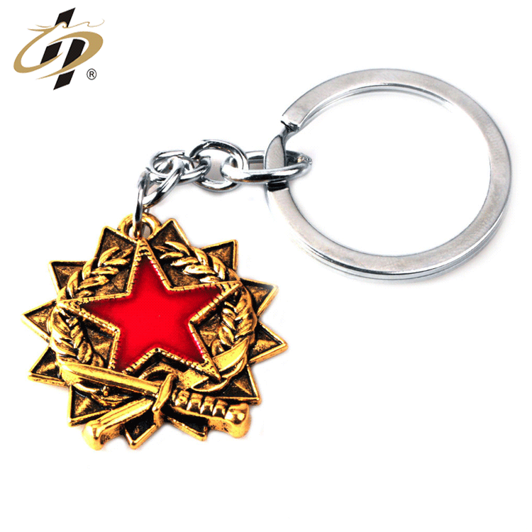Wholesale zinc alloy custom 3d antique gold metal souvenir keychain