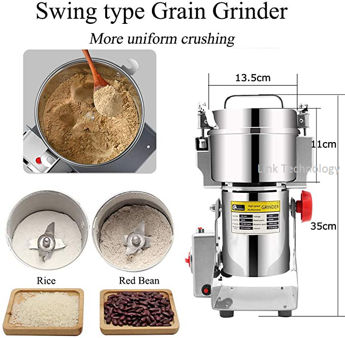 800G AutomaticCoffee Grinder Grains Hebals Cereals Dry Food Grinder Mill Grinding Machine Gristmill Home Flour Powder Crusher