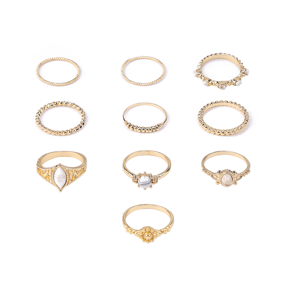 2019European and American new simple inlaid white pine stone ring retro totem pattern hot selling <strong>10</strong> sets of rings