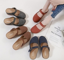 New Round Head Close Toe Slip on Slingback <strong>Flat</strong> Women Casual Mule Slipper Sandals Shoe Buckle Strap