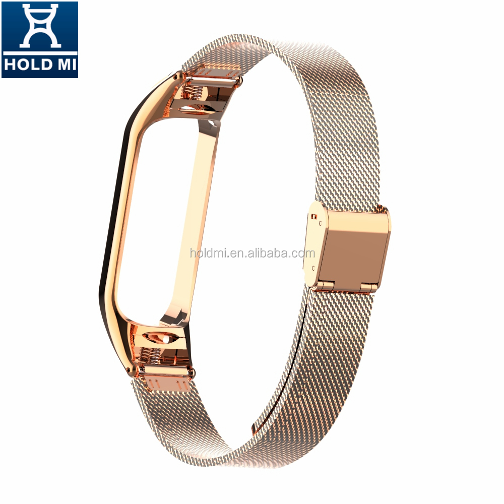 ODM holdmi 43035 series rose gold stainless steel miband 4 watch strap band for xiaomi band 4 and 3