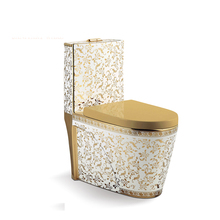 Luxury Sanitary <strong>bathroom</strong> one piece <strong>decorative</strong> gold plated toilet
