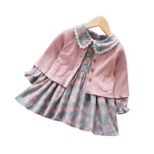 Wholesale Autumn two-piece floral <strong>dress</strong> wool coat set baby <strong>girls</strong> <strong>dress</strong> cotton <strong>girl</strong> child <strong>dress</strong>