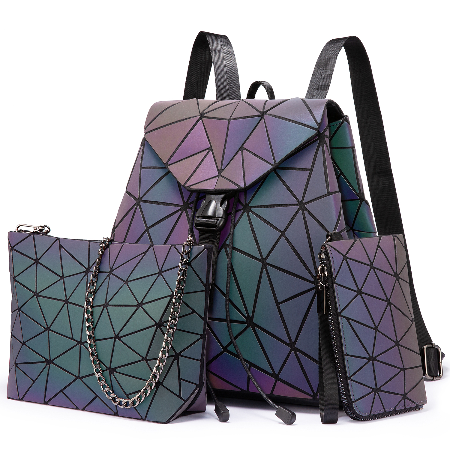 Lovevook Luminous <strong>backpack</strong> sets women geometric pu leather <strong>backpacks</strong> Holographic Reflective ladies messenger bags