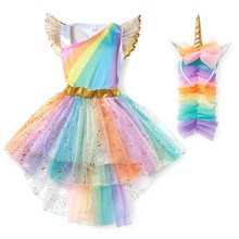 Girls Unicorn Pony TUTU <strong>Dress</strong> With Gold Headband Wings Kids Sequin Princess <strong>Party</strong> <strong>Dress</strong> Children Unicorn Costumes 2020