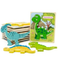 Kids Early Educational Learning Toys Wooden Cartoon Animals dinosaur 3D jigsaw Puzzles