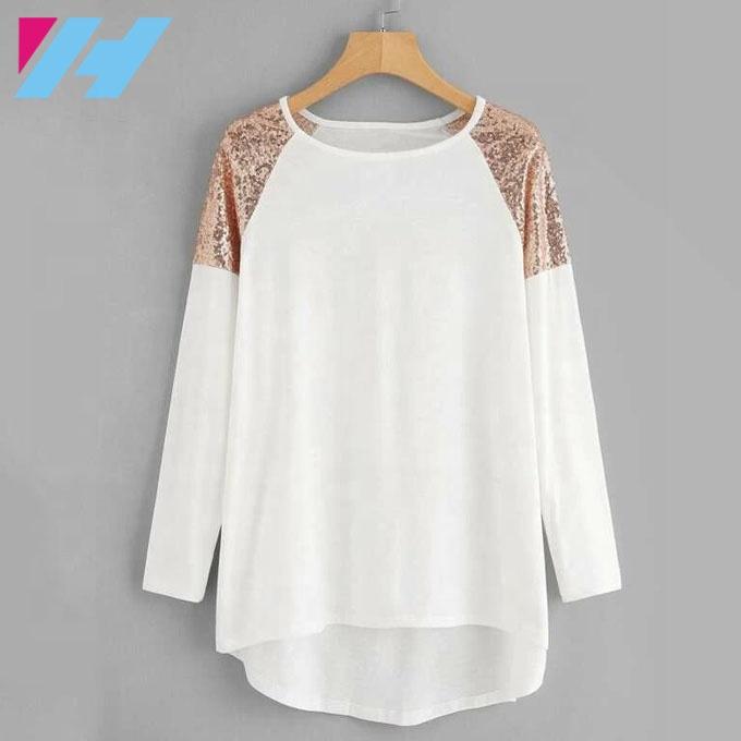 Wholesale sequined shoulder long sleeve women shirt