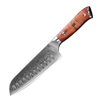 Kitchen Knives VG10 Damascus Steel Santoku Knife with Rose Wood Handle Cooking Utility Slicing Chef Knife