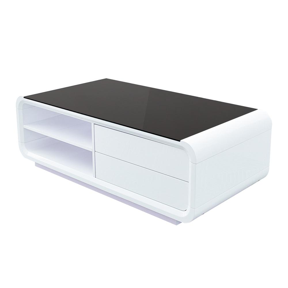 Modern Coffee Table Storage Drawer Shelf Cabinet High Gloss <strong>Furniture</strong>