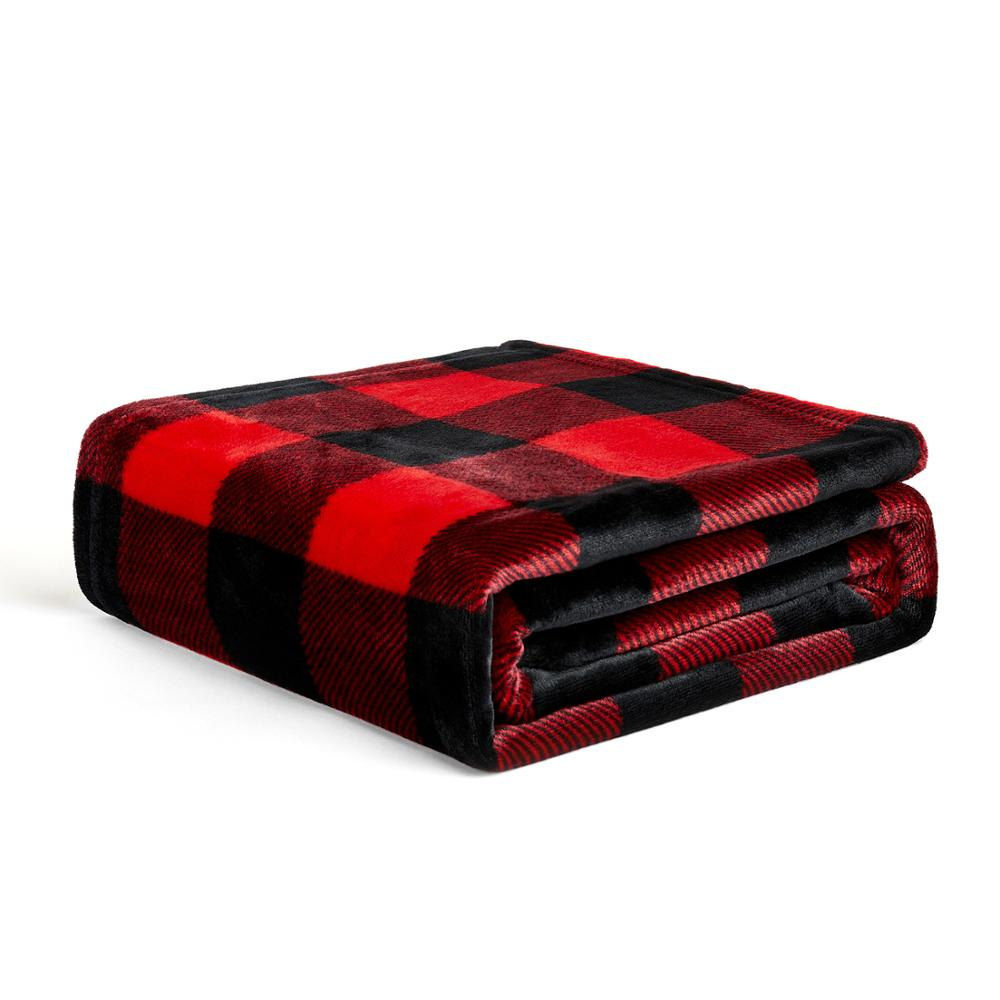 Buffalo Check Sherpa Fleece Throw Blanket Red Black Checkered Flannel Christmas <strong>Plaid</strong> Warm Plush Microfiber Blanket