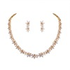 Sparkling Cubic Zirconia CZ Crystal Zircon Flower Necklace and Earring Wedding Bridal Jewelry Sets