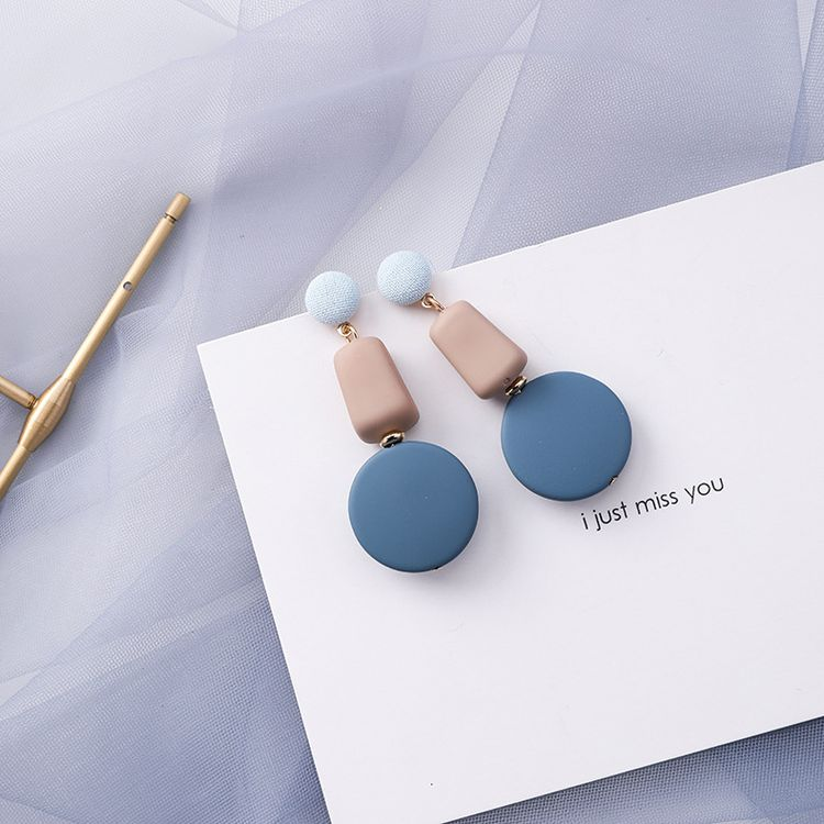 Korean fashion blue gray earrings female geometric earrings new personality simple Earring