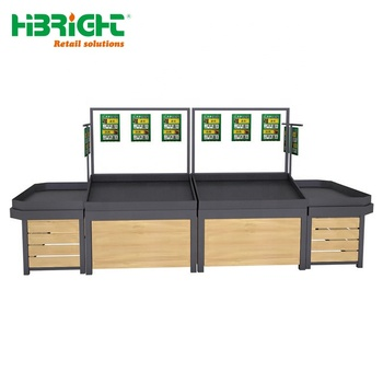 supermarket wooden shelves fruit vegetable display rack