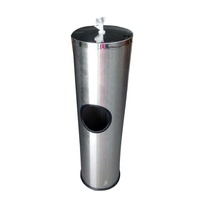 GYM standing stainless wipes dispenser with inside removable dustbin