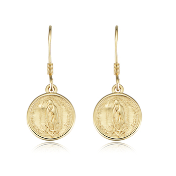 925 Sterling Silver Vintage Gold Colo Higher Edge Stamped Christian Religious Coin Earrings