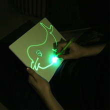 JSK A4 Invisible Disappearing Ink Pen Glowing Magic LED Pen Writing Drawing Board for <strong>Kids</strong> in night