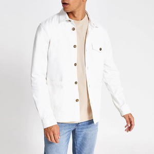 OEM manufacturer flag embroidery winter man jacket white casual jacket for men
